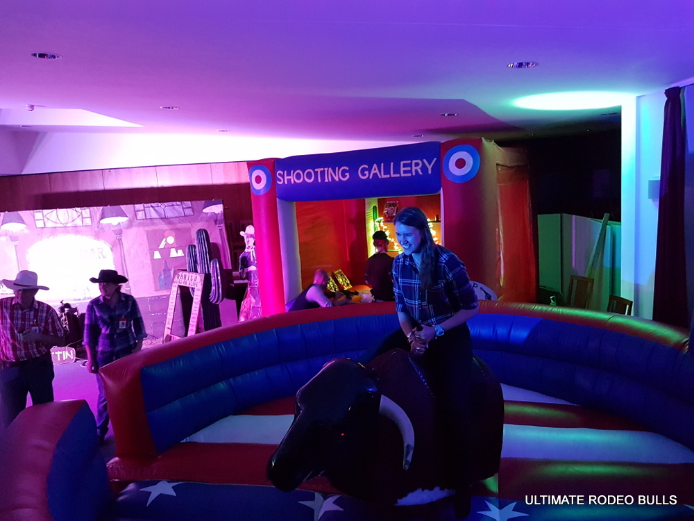 RODEO BULL- CORK SHOOTING GALLERY - WESTERN THEME PHOTO SHOOT AREA FOR HIRE NATIONWIDE